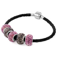 Man's Jewelry - pink and coffee brown crystal shamballa beads leather bracelet Image.