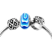 Charms Beads - blue flower murano glass silver plated set beads charms bracelets fit all brands Image.