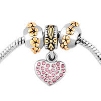 Charms Beads - mom silver plated heart pink crystal golden flower set beads charms bracelets fit all brands Image.