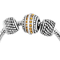 Charms Beads - silver plated yellow crystal spacer set beads charms bracelets fit all brands Image.