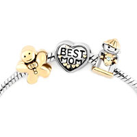 Charms Beads - mom baby boy heart love best gingerbread man cookie beads charms bracelets fit all brands Image.