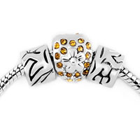 Charms Beads - silver plated yellow rhinestone crystal flower set beads charms bracelets fit all brands Image.