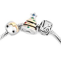 Charms Beads - silver plated guiding star christmas tree moon flower set beads charms bracelets fit all brands Image.