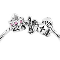 Charms Beads - silver plated celtic cross crown guarder set beads charms bracelets fit all brands Image.