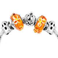 Charms Beads - yellow murano glass silver plated pumpkin ghost set beads charms bracelets fit all brands Image.