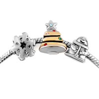 Charms Beads - crystal silver plated christmas tree santa snowflake set beads charms bracelets fit all brands Image.