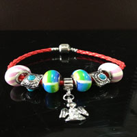 Charms Beads - pink murano glass silver/ p turquoise spacer fits beads charms bracelets fit all brands Image.