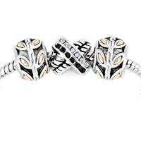 Charms Beads - silver plated life tree ring cross spacer set fits beads charms bracelets fit all brands Image.