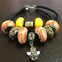 Charms Beads - yellow murano glass golden spacer set leather beads charms bracelets fit all brands Image.