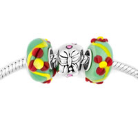 Charms Beads - multicolor murano glass silver plated butterfly spacer set fits beads charms bracelets fit all brands Image.
