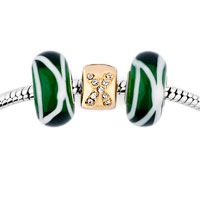 Charms Beads - green murano glass silver plated crystal cross spacer set fits beads charms bracelets fit all brands Image.