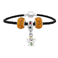 Bracelets - cute angle beades yellow crystal black leather beaded charms bracelets Image.