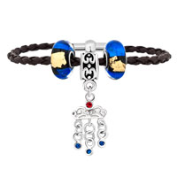 Bracelets - blue murano glass crystal rhinestone crown black leather beaded bracelet Image.