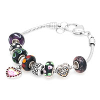 Bracelets - dark color murano glass spacer bead dangle snake chain charms bracelet Image.