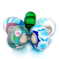 Bracelets - 5  pcs multicolored blue& green murano glass flower fit pandora, and charmilia beads charms bracelets all brands Image.