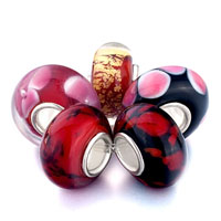 Bracelets - 5  pcs black and red wine murano glass kit fit all brands beads charms bracelets Image.