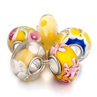 Bracelets - 5  pcs topaz fresh blue murano glass flower fit and charmilia beads charms bracelets all brands Image.