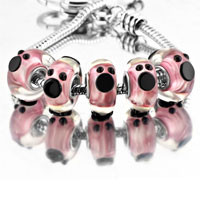 Bracelets - 5 pcs pink cute mickey disney animal murano glass beads charms bracelets fit all brands Image.