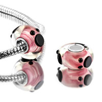 Bracelets - 2 pcs pink cute mickey disney animal murano glass beads charms bracelets fit all brands Image.