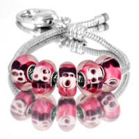 Bracelets - 5  pcs set mickey mouse red color assorted bundle fit murano glass beads charms bracelets all brands Image.