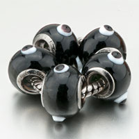 Charms Beads - 5  black with circle fit all brands beads charms bracelets Image.