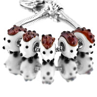 Bracelets - 5 pcs brown hedgehog animal white murano glass beads charms bracelets fit all brands Image.