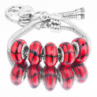 Bracelets - 5  pcs set black strips red color assorted bundle fit murano glass beads charms bracelets all brands Image.
