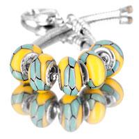 Bracelets - 5  pcs set yellow blue pieces color assorted bundle fit murano glass beads charms bracelets all brands Image.