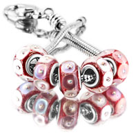 Bracelets - 5  pcs set white petal red color assorted bundle fit murano glass beads charms bracelets all brands Image.