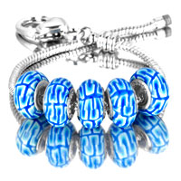 Bracelets - 5  pcs set white dot blue color assorted bundle fit murano glass beads charms bracelets all brands Image.