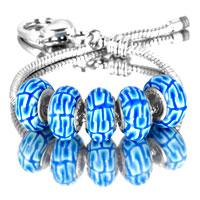 Bracelets - 5  pcs set white dot blue color assorted bundle fit murano glass beads charms bracelets all brands Image.
