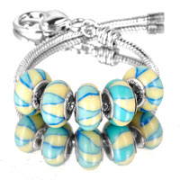 Bracelets - 5  pcs set yellow petal stripes color assorted murano glass bundle fit beads charms bracelets all brands Image.