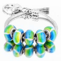 Bracelets - 5  pcs set colorful stripes color assorted bundle fit murano glass beads charms bracelets all brands Image.