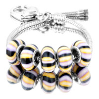 Bracelets - 5  pcs set black yellow white stripes color assorted murano glass bundle fit beads charms bracelets all brands Image.