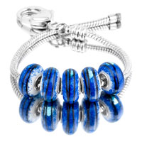 Bracelets - 5  pcs set black stripes blue color assorted bundle fit murano glass beads charms bracelets all brands Image.