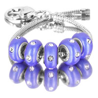 Bracelets - 5  pcs set white crystal blue color assorted bundle fit murano glass beads charms bracelets all brands Image.