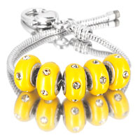 Bracelets - 5  pcs set white crystal yellow color assorted bundle fit murano glass beads charms bracelets all brands Image.