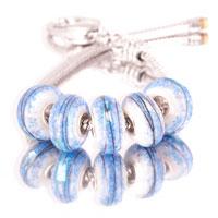 Bracelets - 5  pcs set black strips blue color assorted bundle fit murano glass beads charms bracelets all brands Image.