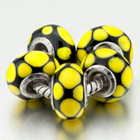 Charms Beads - 5  yellow dots slim fit all brands beads charms bracelets Image.