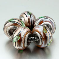 Bracelets - 5  glitter pale green leaf murano glass fit all brands beads charms bracelets Image.