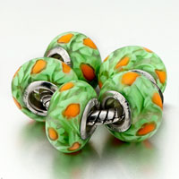 Charms Beads - 5  orange and green flower fit all brands beads charms bracelets Image.