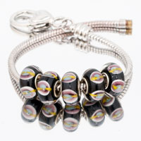 Bracelets - 5  pcs set black block color assorted bundle fit murano glass beads charms bracelets all brands Image.