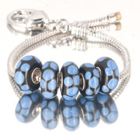 Bracelets - 5  pcs set blue dot flower black color assorted bundle fit murano glass beads charms bracelets all brands Image.