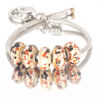 Bracelets - 5  pcs set colorful dots yellow color assorted murano glass bundle fit beads charms bracelets all brands Image.