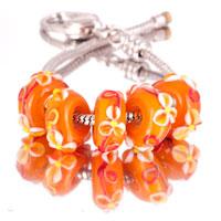 Bracelets - 5  pcs set peach flower pink blue color assorted bundle fit murano glass beads charms bracelets all brands Image.