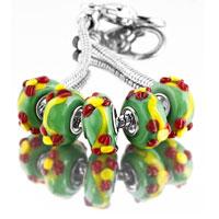 Bracelets - 5  pcs set red enamel flower green color assorted bundle fit murano glass beads charms bracelets all brands Image.