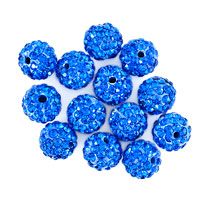 Bracelets - 20  shamballa ball beads charms sapphire blue swarovski elements bracelet Image.