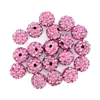 Bracelets - 20  shamballa ball beads charms rose pink swarovski elements bracelet Image.
