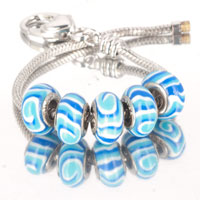 Bracelets - 5  pcs set white blue stripes swirl color assorted bundle fit murano glass beads charms bracelets all brands Image.