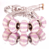 Bracelets - 5  pcs set white purple stripes color assorted bundle fit murano glass beads charms bracelets all brands Image.